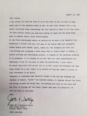 Letter from Jesse Ed Davis to Allece Garrard, 19 August 1981